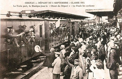 Embarquement dans un train 04/09/1914