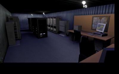Intérieur des différents Algeco : la salle des serveurs