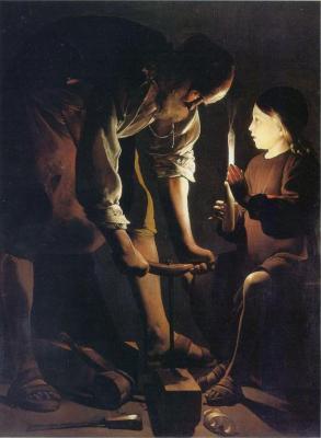 Original(Saint Joseph charpentier)huile sur toile 137cm x 102cm-Musée du louvre
