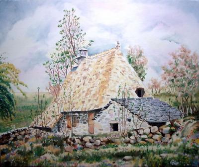 Maison auvergnate en chaume(55cm x 46cm)