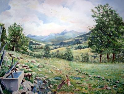 Vallée de Mandaille le printemps(deux lièvres s'afrontent pour conquérir une femelle) 61cm x 50cm