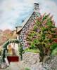 Maison auvergnate au lilas- 61 cm x 46 cm (220 € )