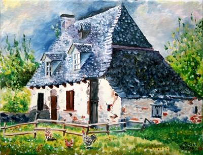 Maison auvergnate - 35 cm x 27 cm: 100€