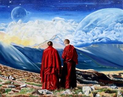Contemplation - huile sur toile - 92 cm x 73 cm : 600 €