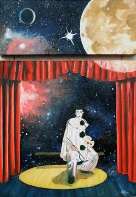 Pierrot lunaire, diptyque : dimention totale avec l'espace,72 cm x 50 cm: 250 €