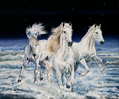 les chevaux 55 x 46 -vendu