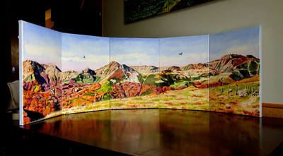 panorama monts du Cantal, 165 cm x 33 en arc de cercle