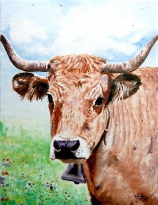 Vache Aubrac- 35 cm x 27 cm : 100 €