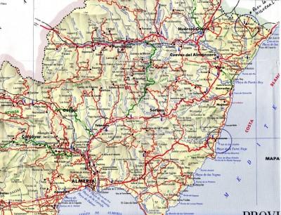 Province d'Almeria, situation des sites visités