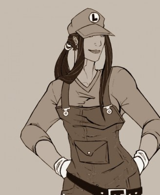Luigi (ou Mario femme qui a piqué la casquette de luigi)