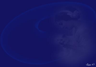 Bleu femme avec chat