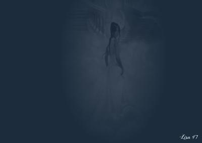 Bleu femme floue