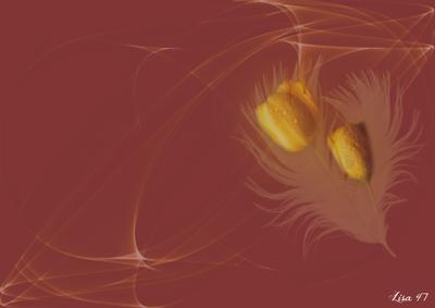 Brun-roux avec tulipes jaunes