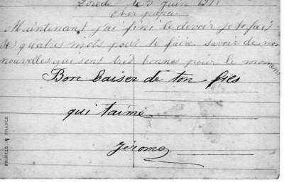 carte postle de J Margail à son père en 1918