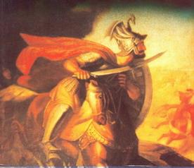 Milos Obilic avec un dragon sur son casque