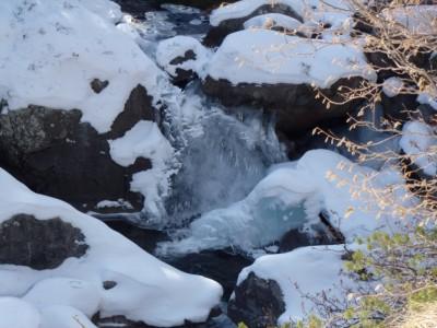 la cascade est recouverte d'une couche de glace!