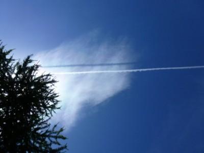 L'ombre du passage d'un avion. Etonnant non ?