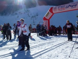 Départ du biathlon, SAS Albert II, E.PHilibert de Savoir, M.Serra et A.Vatanen.