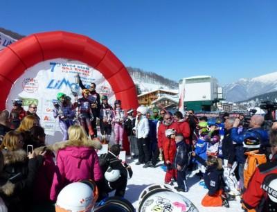 Podium du slalom, les stars et les espoirs.