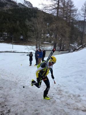 Finir l'épreuve ski en courant ...