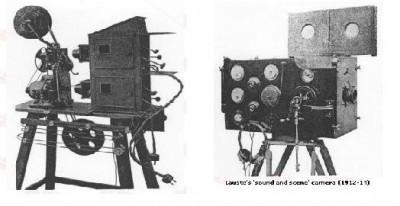 projecteur de Lauste à gauche, caméra de Lauste à droite